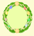 Christmas decoration wreath with vintage baubles vector image vector image