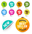 Circle Discount Labels Set with Best Seller Medal vector image