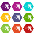 code reader icons set 9 vector image vector image