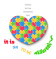colorful jigsaw heart on white background autism vector image vector image