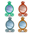 cosmetic mirror with crown decoration in cartoon vector image vector image