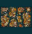 doodle cartoon set tea and coffee vector image