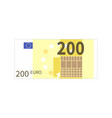 flat simple two hundred euro banknote on white vector image vector image