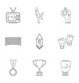 football championship icons set outline style vector image vector image