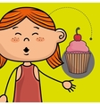 girl cup cake bakery vector image vector image
