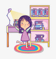 girl with books cartoons vector image vector image