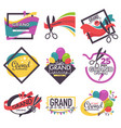 grand opening isolated icons ribbon and scissors