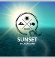 green sunset with dark turquoise water sea surface vector image vector image