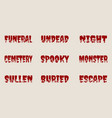 halloween relative words and silhouettes on them vector image vector image