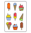 Ice-cream set Outline style design vector image vector image