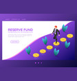 isometric web banner businessman walking on coins vector image vector image