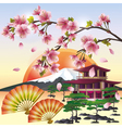 Japanese background with sakura Japanese cherry vector image vector image