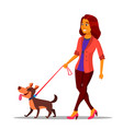 leash concept woman walking with dog on vector image
