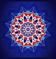mandala pattern on blue background for card vector image