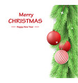merry christmas postcard with fir tree branch vector image