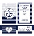 nautical wedding invitation and rsvp card vector image vector image