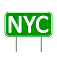New York City green road sign vector image vector image