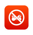 no butterfly sign icon digital red vector image vector image