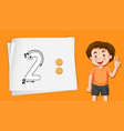number two writing practise vector image vector image