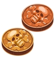 Old pirate coin with skull and crossbones vector image vector image