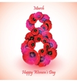 Poppy flowers on the greeting card for Womens day vector image vector image