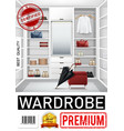 realistic trendy wardrobe room poster vector image vector image