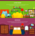 room interior banners set vector image vector image