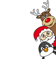 santa claus reindeer and penguin vector image vector image