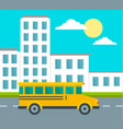school bus driving school background flat style vector image