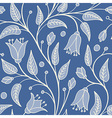 seamless floral pattern with white flowers on blue vector image