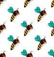 seamless pattern with bee - 3 vector image vector image