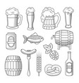 set of beer icons isolated on white background vector image