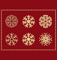 set of isolated icon snowflakes on red vector image vector image