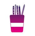 silhouette school utensils inside cup tool design vector image vector image
