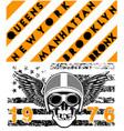 skull motorcycle helmet poster t shirt graphic vector image vector image
