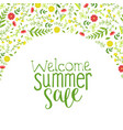 summer sale banner template with beautiful flowers vector image