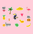 summer stickers collection on pink background vector image vector image