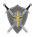 Two crossed swords shield and helmet heraldry vector image vector image