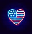 usa heart neon sign vector image