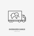 waggon delivery flat line icon truck sign thin vector image