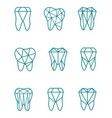 tooth symbol set vector image