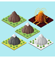 Isometric 3d set of mountains and volcano vector image