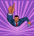 african businessman with a smartphone like thumbs vector image
