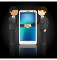 businessmen shaking hands and smart phone vector image