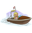 cartoon blonde girl character on brown motor boat vector image vector image