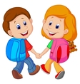 Cartoon Boy and girl with backpacks