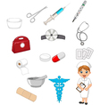 Cartoon collection of medical devices with nurse vector image vector image