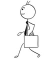 cartoon of business man walking with briefcase vector image