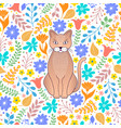 cat and flowers vector image vector image