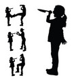 child with a knife in hand silhouette and vector image